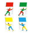set of simple athletes skating with colored flags vector image