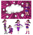 set of woman superhero vector image vector image