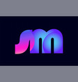 sm s m spink blue gradient alphabet letter vector image vector image