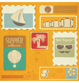 summer travel card in vintage style vector image vector image