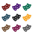 theater masks icon in black style isolated o vector image vector image