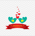 valentine card with cute birds vector image vector image