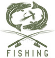 vintage fishing design template with abstract fish vector image