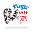 winter sale flyer design candy cane decoration vector image