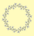 wreath with hand drawn black and white flowers vector image
