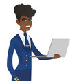 young african-american stewardess using laptop vector image vector image