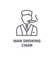 man smoking cigar line icon outline sign linear vector image