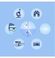 set of optics icons vector image
