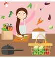 moms woman cooking kitchen vegetable ingredients vector image