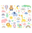 abstract doodles baby animals pattern vector image