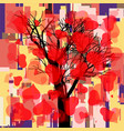 abstract square fall composition with tree and vector image