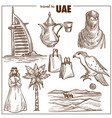 arab emirates travel sketch landmarks vector image vector image