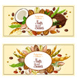 banners of nuts and fruit kernels vector image vector image