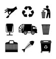 black garbage icons vector image