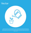 blue watering can sprays water drops above plant vector image vector image
