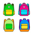 Bright Colorful Backpack Icon Set vector image vector image