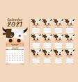 calendar 2021 cute cow