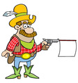 Cartoon cowboy shooting a gun with a sign vector image vector image