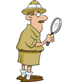 Cartoon Explorer Holding a Magnifying Glass