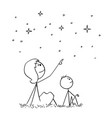 cartoon of mother and son watching night sky stars vector image vector image