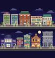 cartoon retro city houses facades landscape old vector image vector image