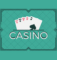 casino poker game full house art deco frame vector image vector image