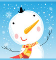 cheerful bright big portrait of a snowman vector image vector image