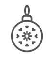 christmas tree ball line icon xmas and decoration vector image vector image