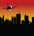 city silhouette with airplane vector image vector image
