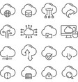 cloud data technology thin line web icons set vector image