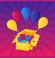 colorful balloons helium fly out from gift vector image vector image