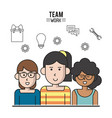 colorful poster of team work with half body women vector image vector image