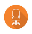 computer chair flat linear long shadow icon vector image vector image