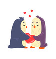 couple of penguins in love holding red heart two vector image