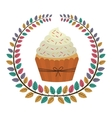 crown of leaves with cupcake with cream and sparks vector image vector image