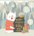 cute cartoon bear celebrating christmas in winter vector image vector image
