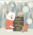 Cute cartoon bear celebrating christmas in winter
