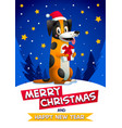 cute dog with merry christmas and happy new year vector image