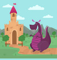 cute dragon standing in front of a castle fairy vector image vector image