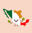 cute funny smiling happy mexico map vector image