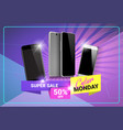 cyber monday super sale poster discounts on modern vector image vector image