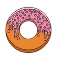 donut with medium pink glazed and colored dragees vector image vector image