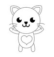 dotted shape smile cat cute feline animal vector image vector image