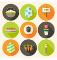 easter flat styled circle icon set 4 with long vector image vector image
