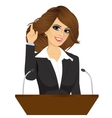 female orator standing behind a podium vector image vector image