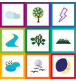 flat icon ecology set of peak tributary vector image vector image