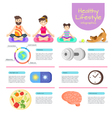 flat style infographic of yoga Man woman and girl vector image vector image