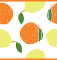 food lemons and oranges seamless pattern vector image vector image