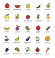 Fruits and vegetables color icons vector image