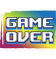 game over message in cartoon style failure end vector image vector image
